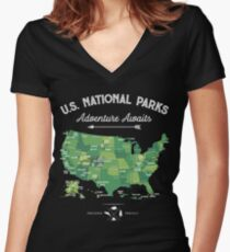 National Park Map Vintage T Shirt - All 59 National Parks Gifts Men Women Kids Women's Fitted V-Neck T-Shirt