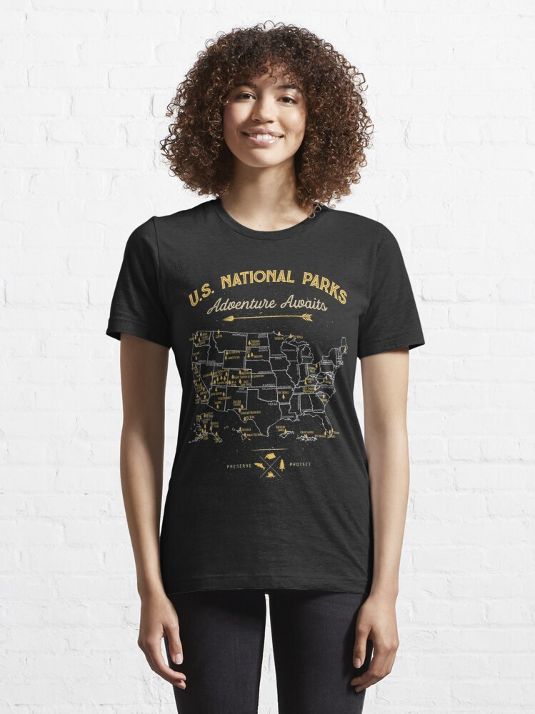 Alternate view of National Park Map Vintage T Shirt - All 59 National Parks Gifts Men Women Kids Essential T-Shirt