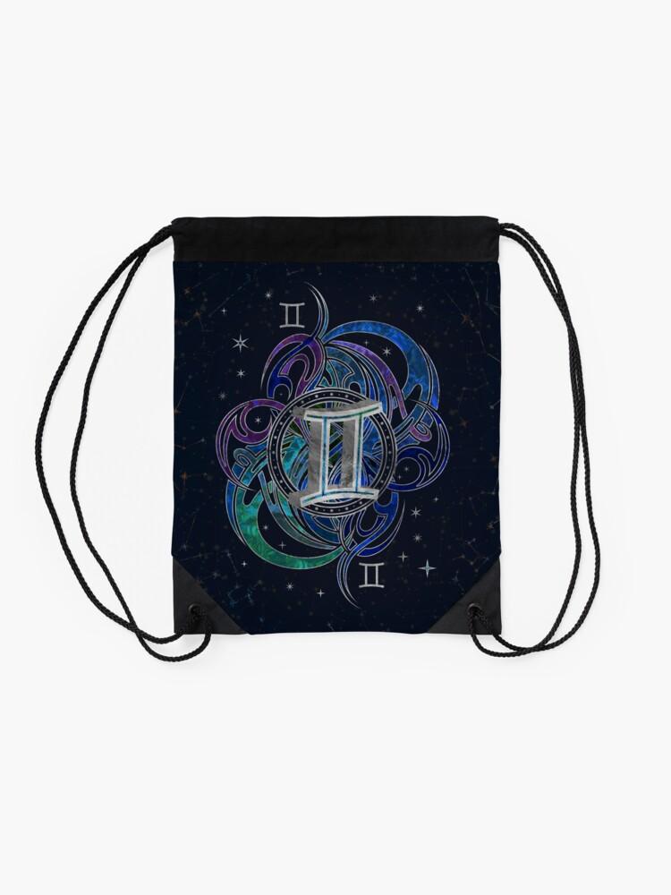 Alternate view of Gemini Zodiac Sign Air Element Drawstring Bag