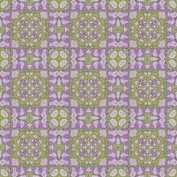 Purple Violet Pink Green Hip Orient Bali Art by FudgePudge