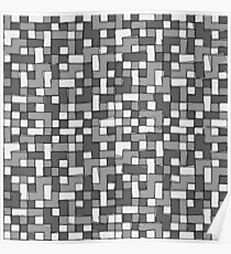 Abstract gray scale pixel background Poster