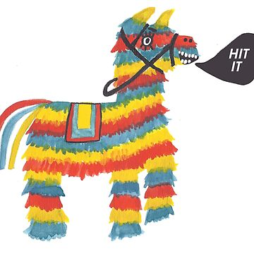 Let's Hit It! Funny colorful piñata donkey  by shoshannahscrib