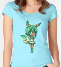 Leafeon Magical Girl Chibi Women's Fitted Scoop T-Shirt