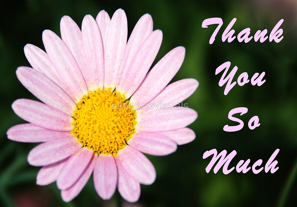 """Pink Daisy Thank You Card"""" by simpsonvisuals Redbubble"""