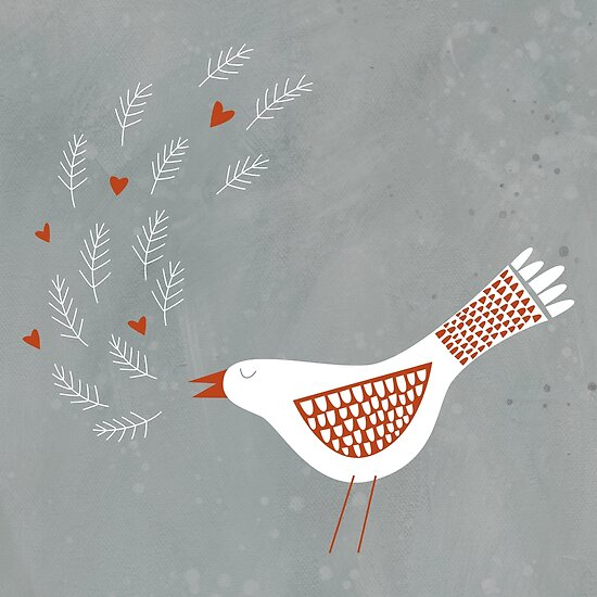 Scandinavian Bird with Hearts by Nic Squirrell