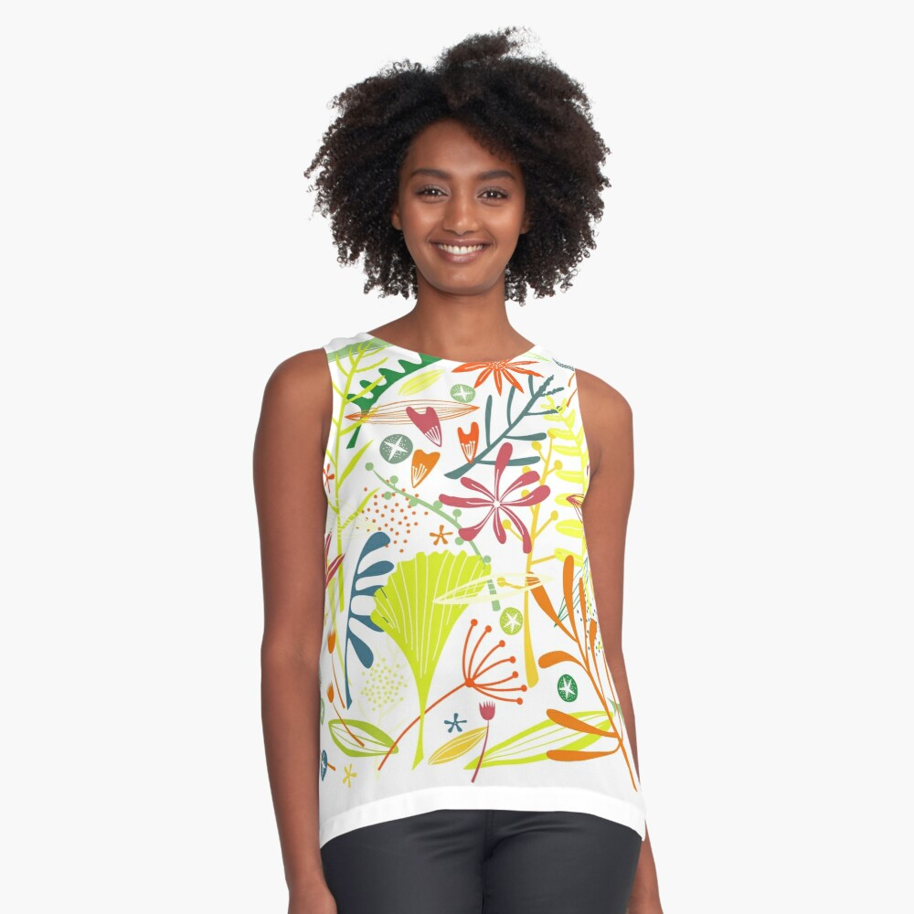 Tropical Leaves and Flowers Contrast Tank Front