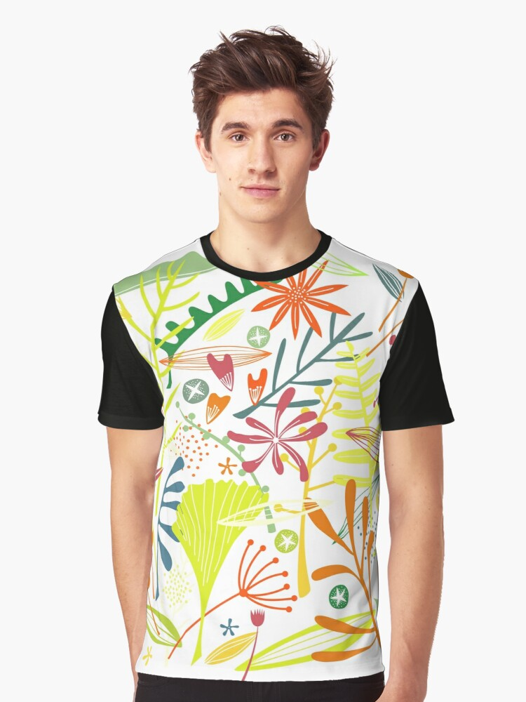 Tropical Leaves and Flowers Graphic T-Shirt Front