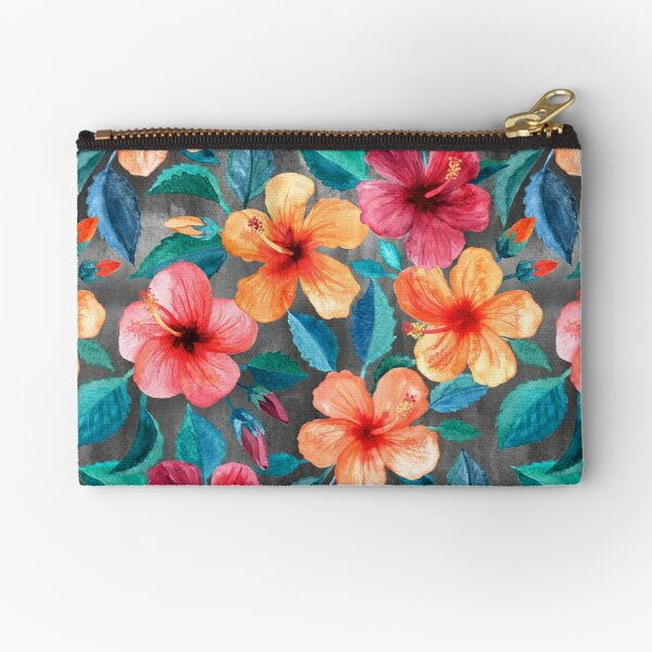 Colorful Watercolor Hibiscus on Dark Charcoal Zipper Pouch