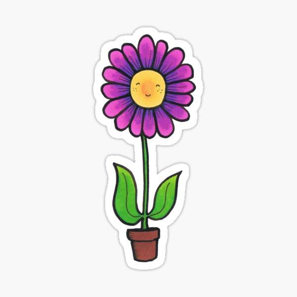 Happy little Flower in a Pot. Sticker