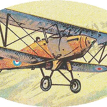 Airplane Aircraft Bi-plane Hawker-Hunter Sticker by henrytheartist
