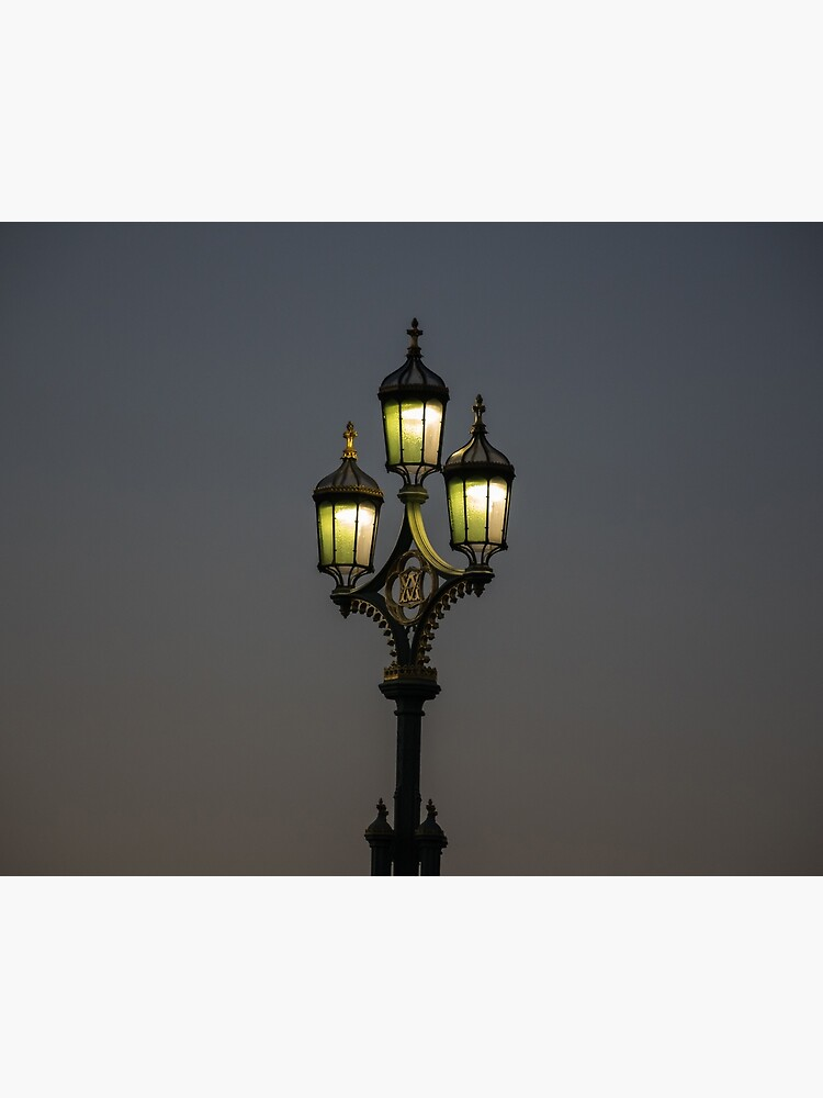 A lamppost lit at night by tdphotogifts