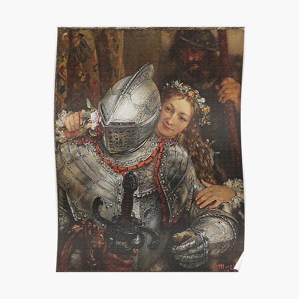 Knight in full armor with beautiful girl Poster