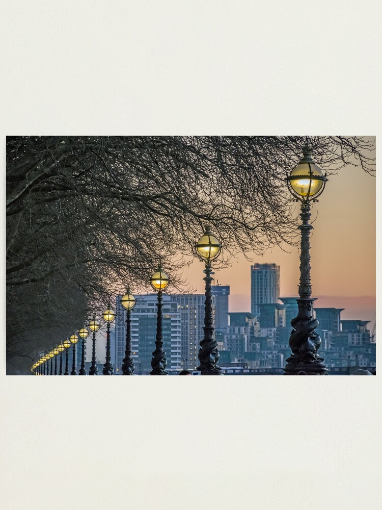 Alternate view of Lampposts at sunset Photographic Print