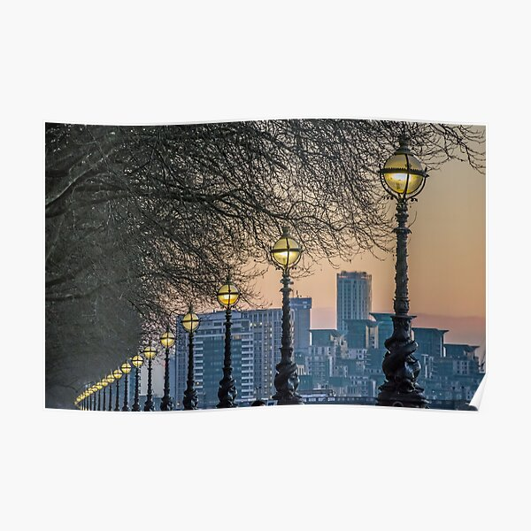 Lampposts at sunset Poster