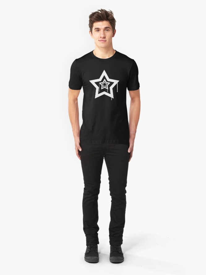 Alternate view of Drip Star - (White). Slim Fit T-Shirt