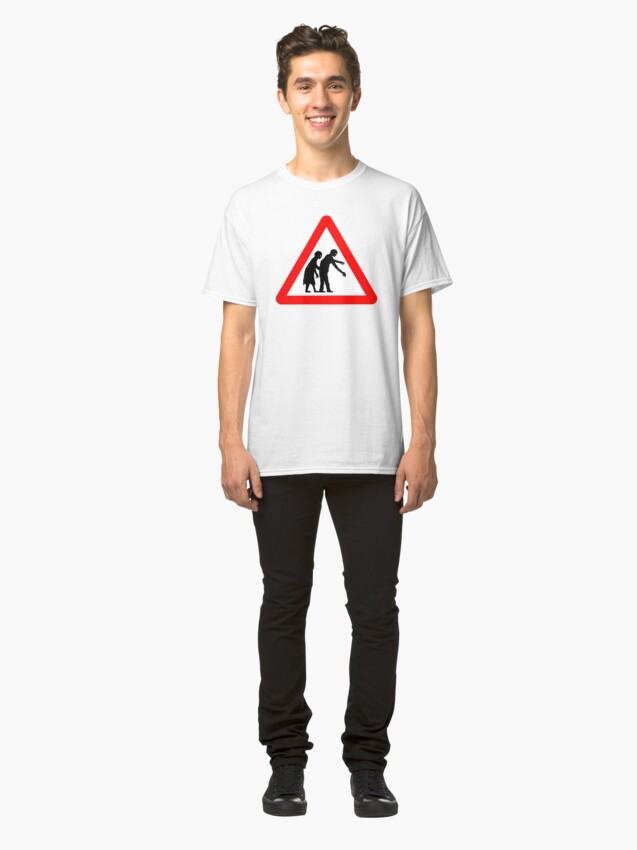 Alternate view of Caution Zombies! Classic T-Shirt