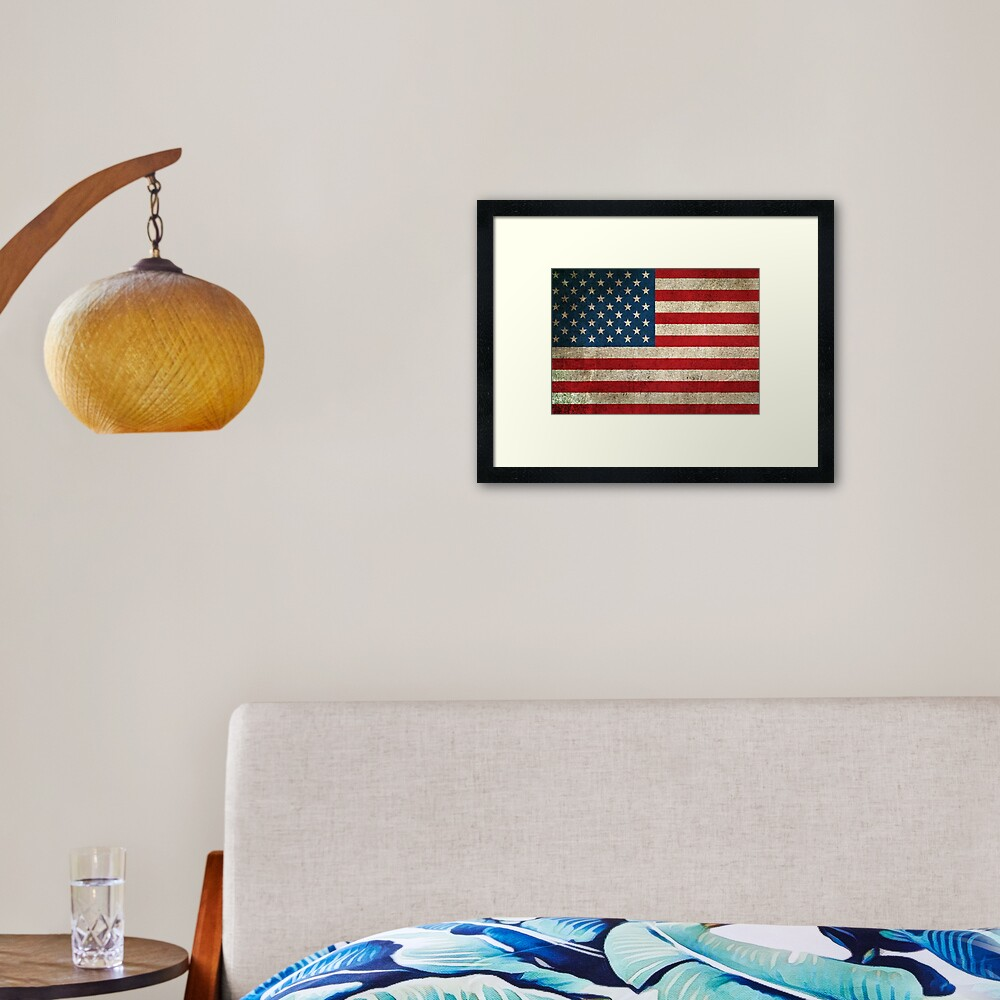Old and Worn Distressed Vintage Flag of The United States Framed Art Print