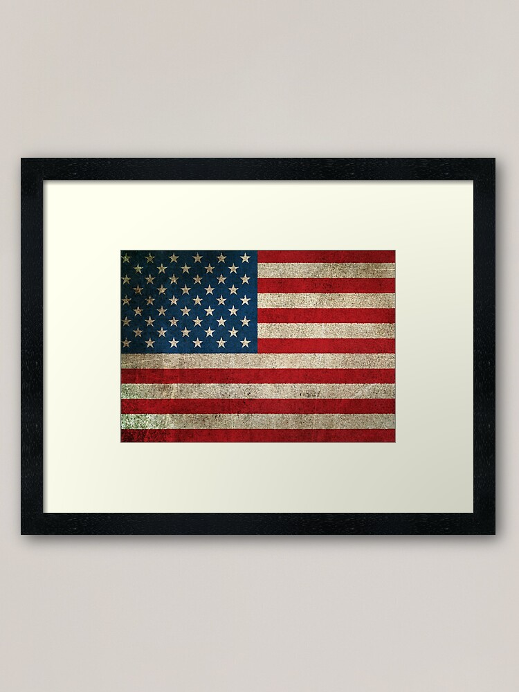 Alternate view of Old and Worn Distressed Vintage Flag of The United States Framed Art Print