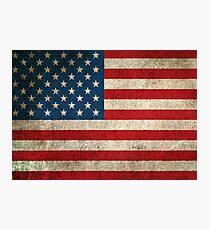 Old and Worn Distressed Vintage Flag of The United States Photographic Print