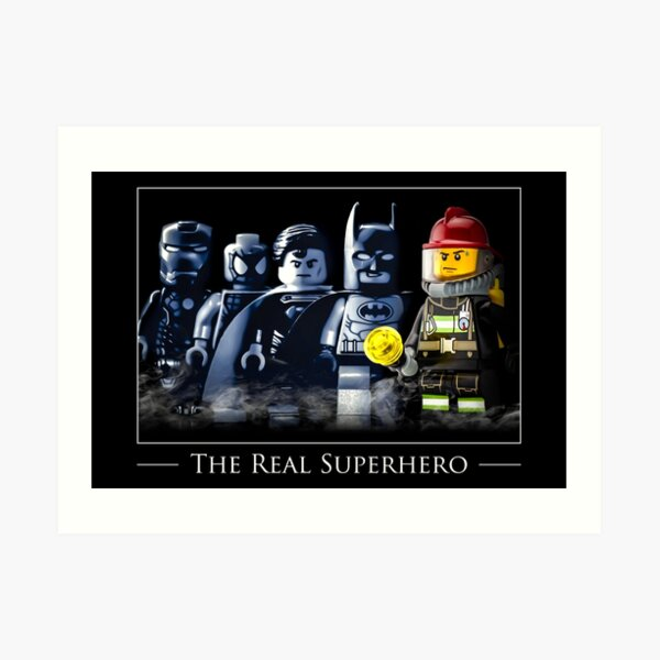 "Firefighter Gift - Gifts for Firefighters - ""The Real Superhero"" (Male) Art Print"