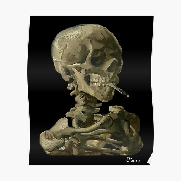 Van Gogh, Head of Skeleton Artwork Skull Reproduction, Posters, Tshirts, Prints, Bags, Men, Women, Kids Poster
