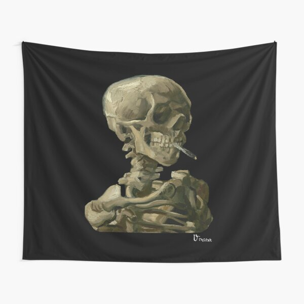 Van Gogh, Head of Skeleton Artwork Skull Reproduction, Posters, Tshirts, Prints, Bags, Men, Women, Kids Tapestry