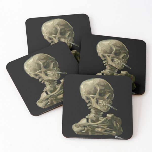 Van Gogh, Head of Skeleton Artwork Skull Reproduction, Posters, Tshirts, Prints, Bags, Men, Women, Kids Coasters (Set of 4)