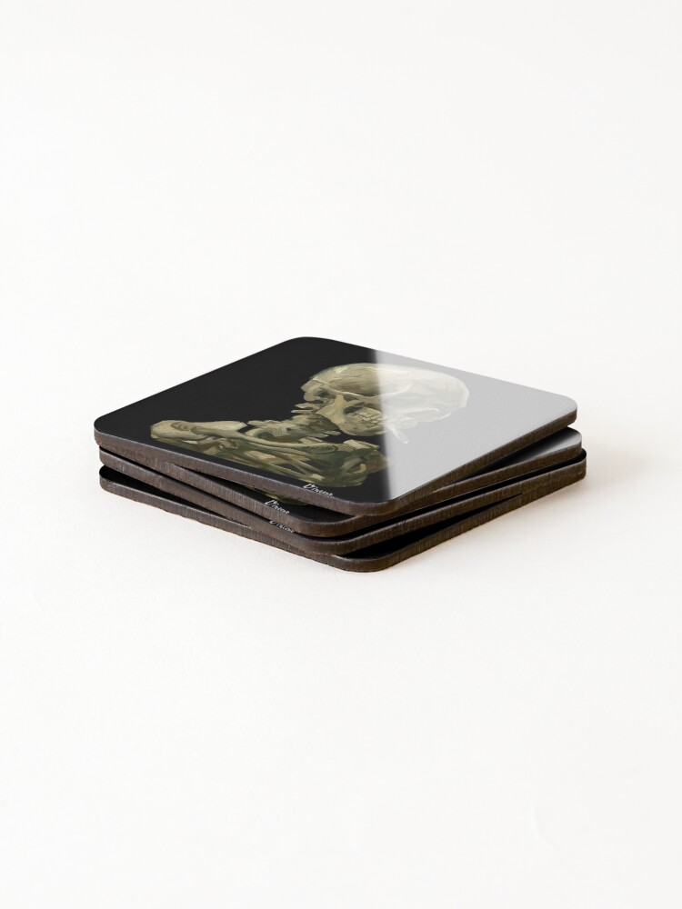 Alternate view of Van Gogh, Head of Skeleton Artwork Skull Reproduction, Posters, Tshirts, Prints, Bags, Men, Women, Kids Coasters (Set of 4)