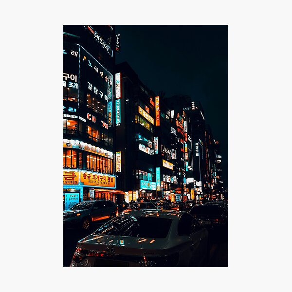 busy nights (orange and teal edition) Photographic Print
