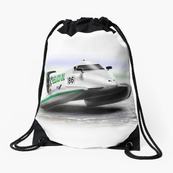 Power Boat Racer Drawstring Bag
