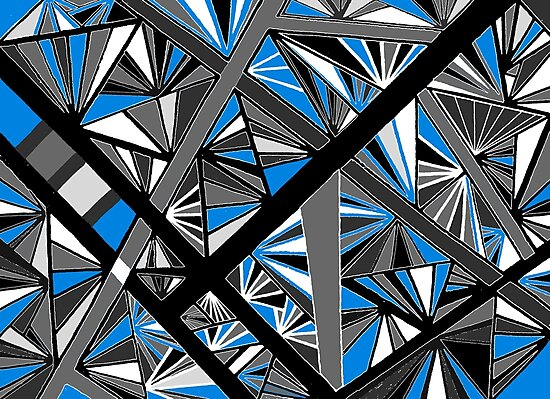 Stained Glass Blue and Gray by Clare Wuellner