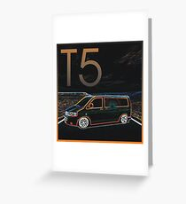Glowing T5 Transporter vw camper Greeting Card