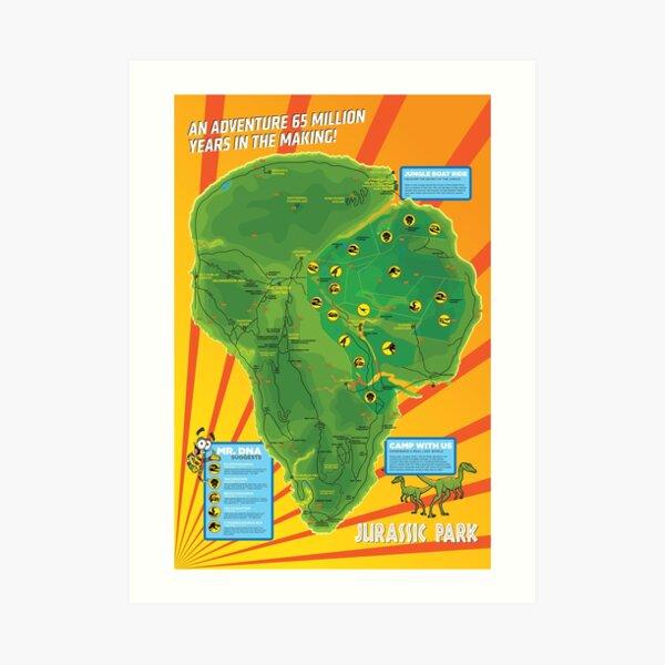 Jurassic Park - Map Art Print