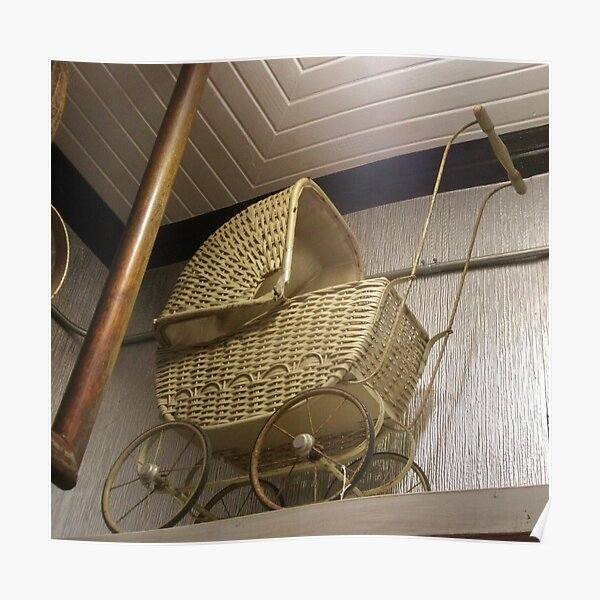 Vintage Wicker Baby Carriage, circa 1900 - 1910 Poster