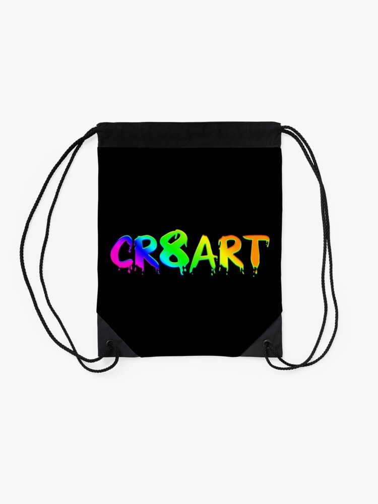 Alternate view of Create Art! - Rainbow colors on Black Drawstring Bag