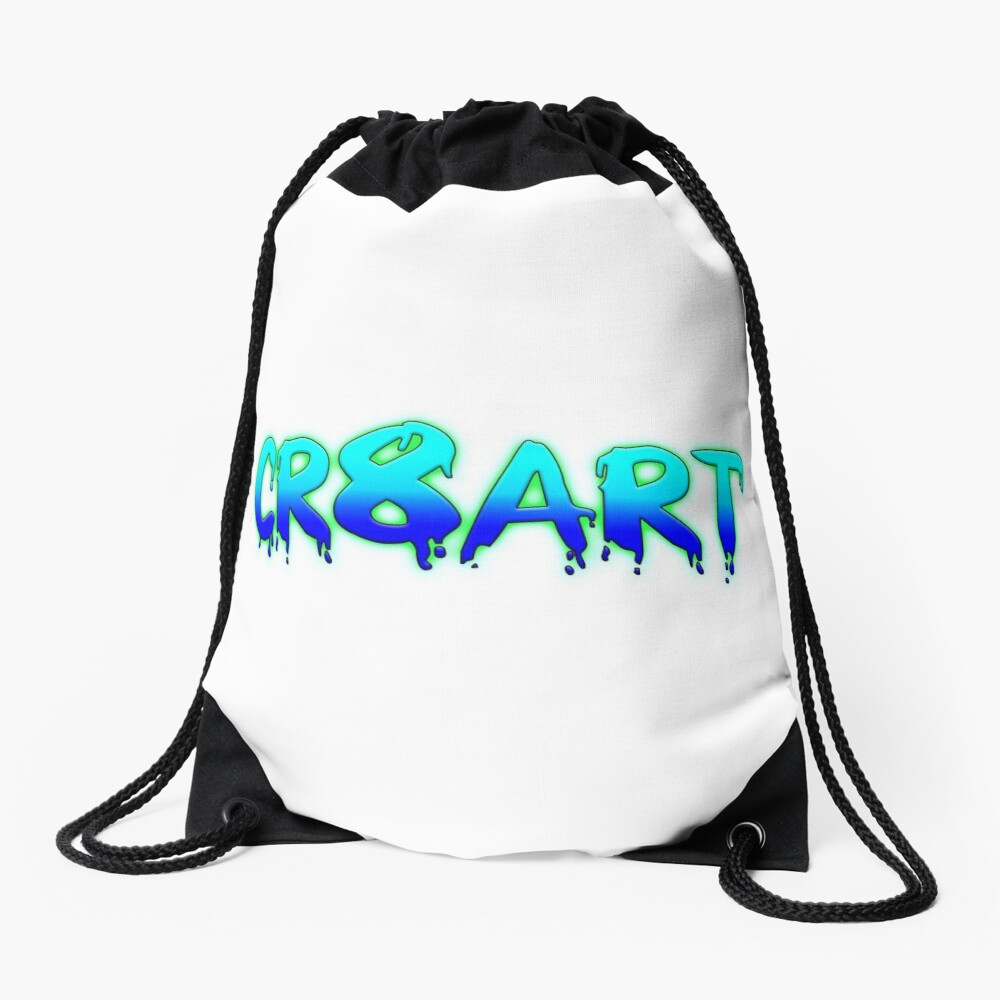 Create Art! - Turquoise and Blue on White Drawstring Bag