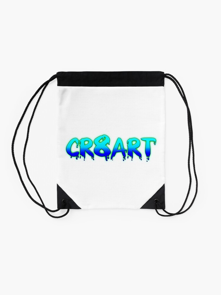 Alternate view of Create Art! - Turquoise and Blue on White Drawstring Bag
