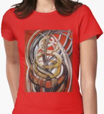 Composition with red Women's Fitted T-Shirt