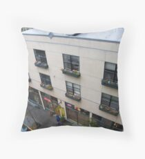 Rear windows to the alley with flower boxes. Throw Pillow