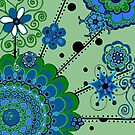 Mandala -- Green and Blue by Clare Wuellner