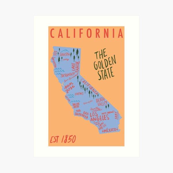 California State Map Art Print