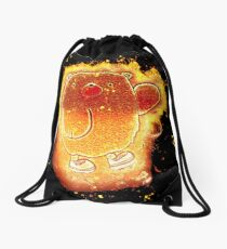Bear cartoon burning Drawstring Bag