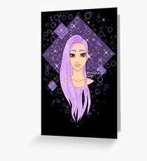 purple hair (black background) Greeting Card