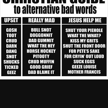 Christian Guide To Alternative Bad Words - Funny Christian Humor by BullQuacky