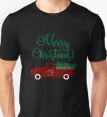 Merry Christmas - Vintage Pickup Truck Hauling Christmas Tree Retro Unisex T-Shirt
