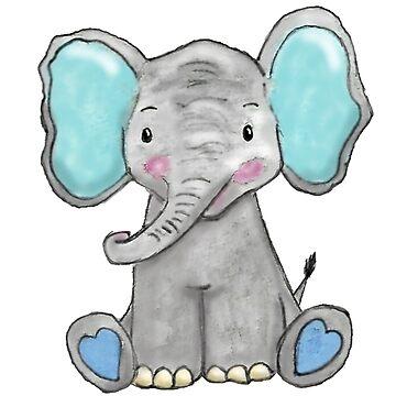 Cute Elephant Watercolour & digital Art by Hummingbirdnz