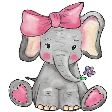 Cute Pink Elephant Watercolour & Digital Art by Hummingbirdnz