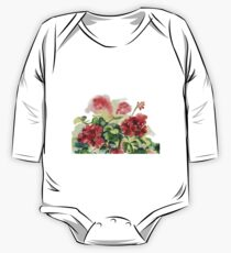 plant geranium, flowers and leaves, watercolor One Piece - Long Sleeve