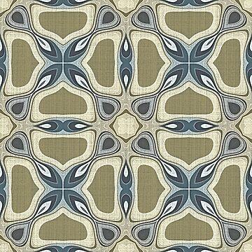 Teal Green Blue Gray Ochre Hip Orient Bali Art by FudgePudge