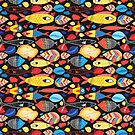 Beautiful autumn pattern of leaves and fish by Tanor